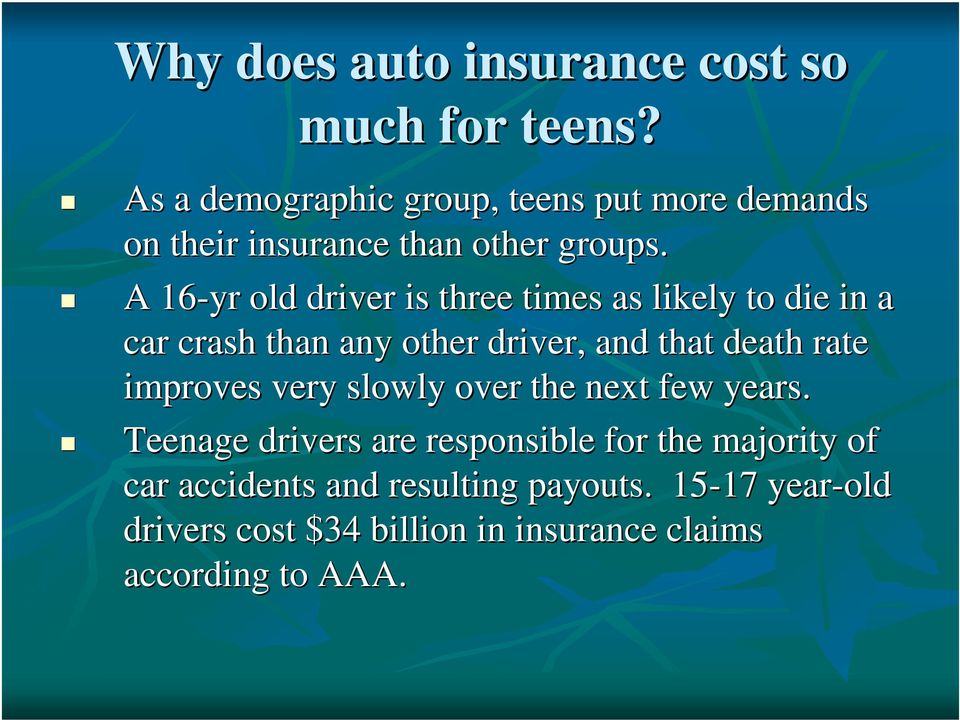 A 16-yr old driver is three times as likely to die in a car crash than any other driver, and that death rate