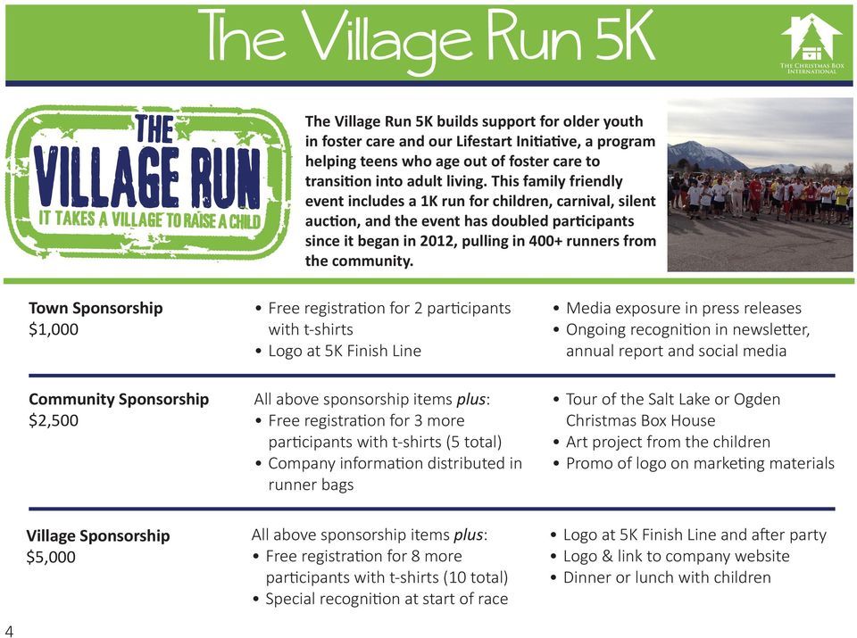 Town Sponsorship $1,000 Free registration for 2 participants with t-shirts Logo at 5K Finish Line Media exposure in press releases Ongoing recognition in newsletter, annual report and social media