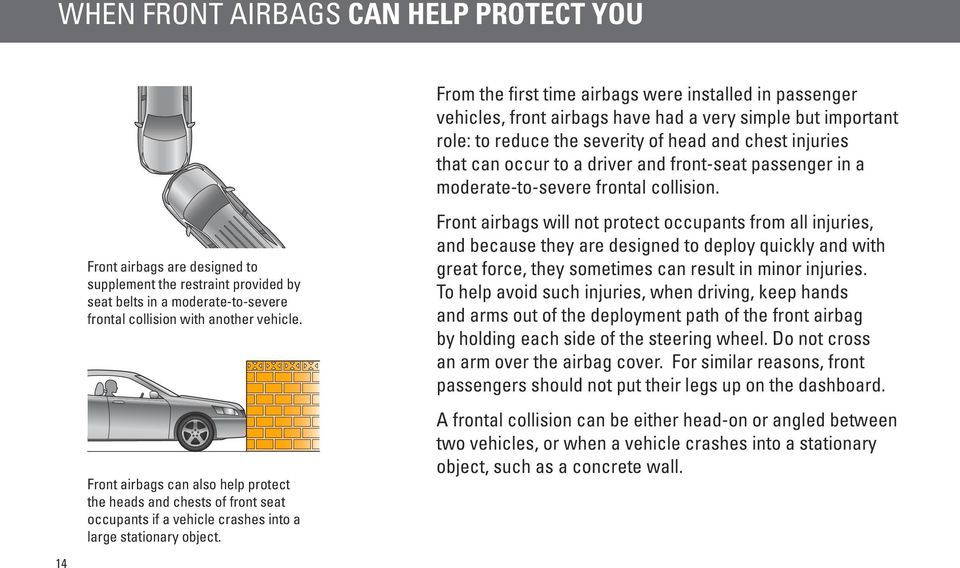 Front airbags are designed to supplement the restraint provided by seat belts in a moderate-to-severe frontal collision with another vehicle.