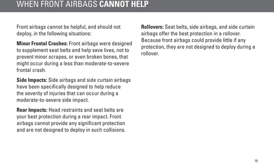 Rollovers: Seat belts, side airbags, and side curtain airbags offer the best protection in a rollover.