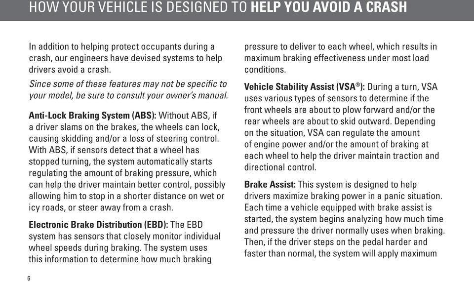 Anti-Lock Braking System (ABS): Without ABS, if a driver slams on the brakes, the wheels can lock, causing skidding and/or a loss of steering control.