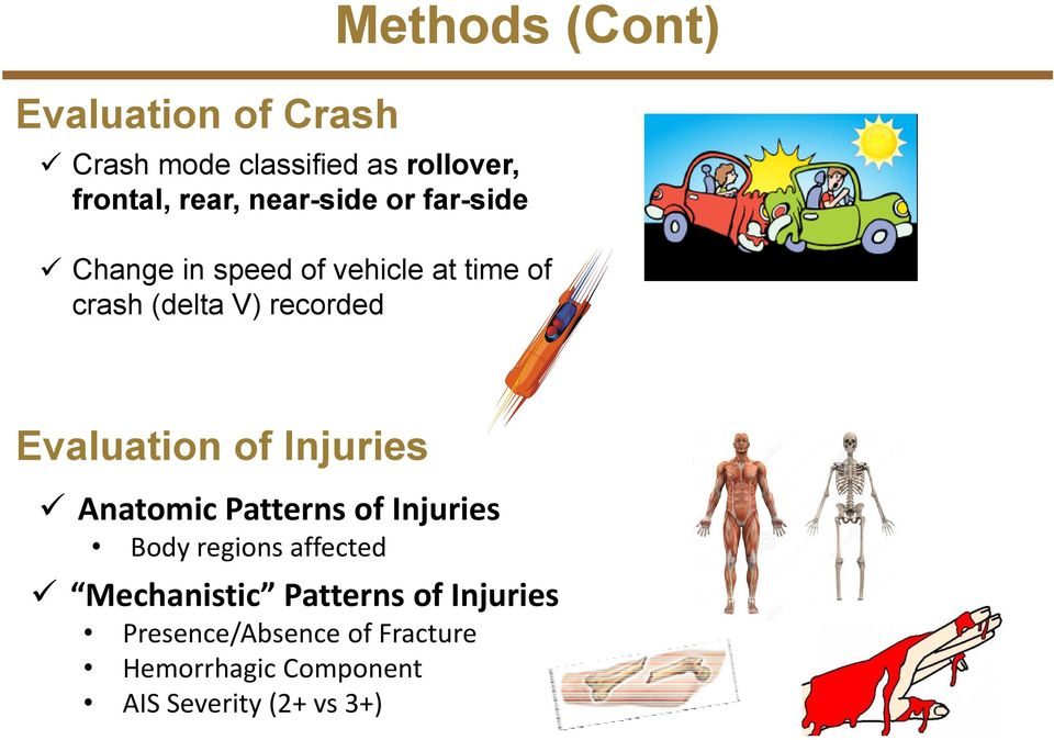 Evaluation of Injuries Anatomic Patterns of Injuries Body regions affected Mechanistic