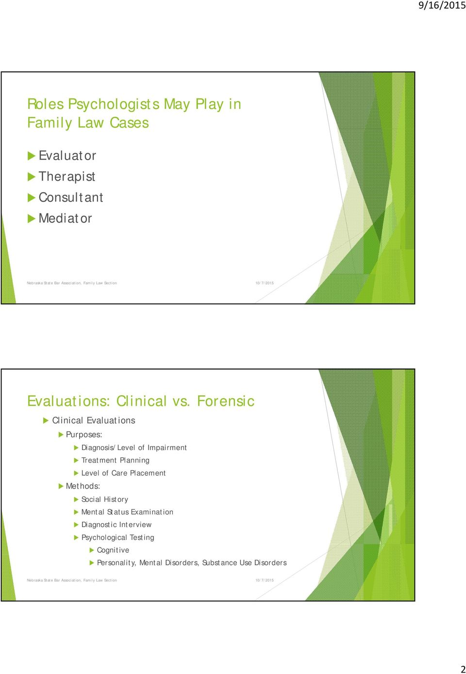 Forensic Clinical Evaluations Purposes: Diagnosis/Level of Impairment Treatment Planning Level