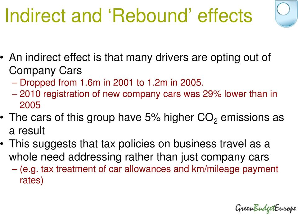 2010 registration of new company cars was 29% lower than in 2005 The cars of this group have 5% higher CO 2