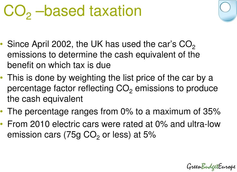 percentage factor reflecting CO 2 emissions to produce the cash equivalent The percentage ranges from 0%