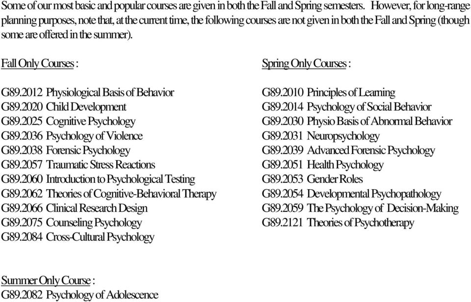 Fall Only Courses : Spring Only Courses : G89.2012 Physiological Basis of Behavior G89.2010 Principles of Learning G89.2020 Child Development G89.2014 Psychology of Social Behavior G89.