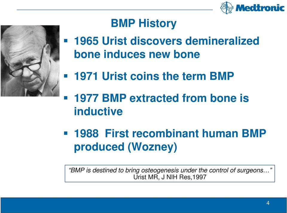 1988 First recombinant human BMP produced (Wozney) BMP is destined to