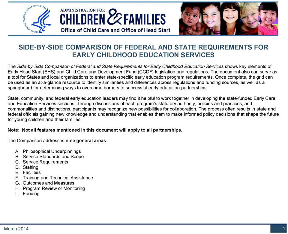 The document also can serve as a tool for States and local organizations to enter state-specific early education program requirements.