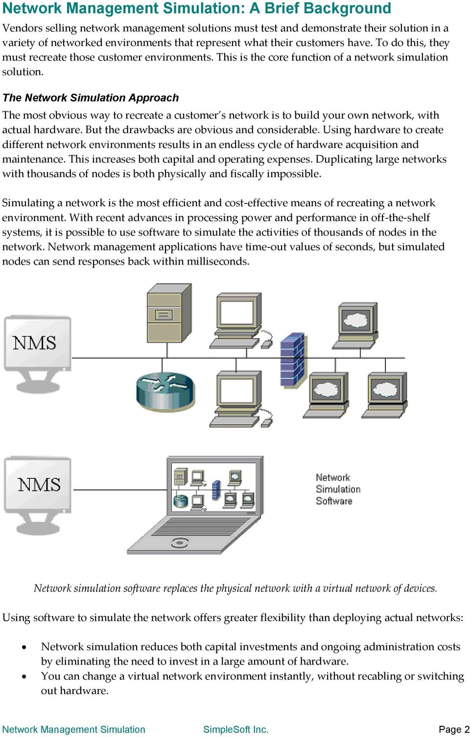 The Network Simulation Approach The most obvious way to recreate a customer s network is to build your own network, with actual hardware. But the drawbacks are obvious and considerable.