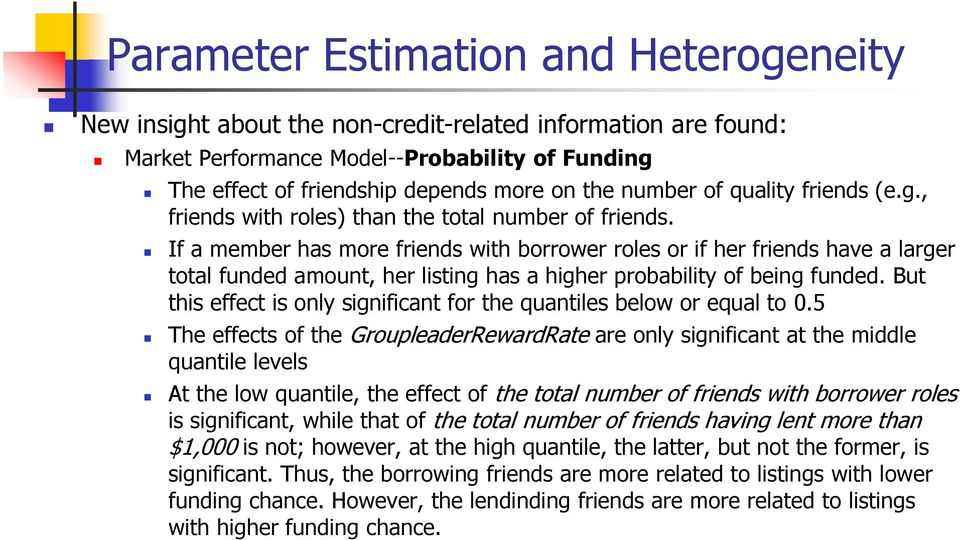 If a member has more friends with borrower roles or if her friends have a larger total funded amount, her listing has a higher probability of being funded.