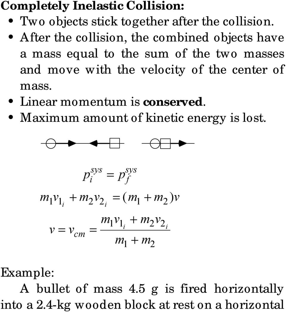 elocity of the cente of mass. Linea momentum is conseed. Maximum amount of kinetic enegy is lost.
