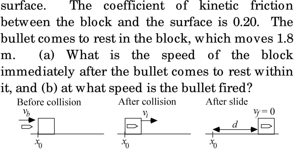 (a) What is the speed of the block immediately afte the bullet comes to est within