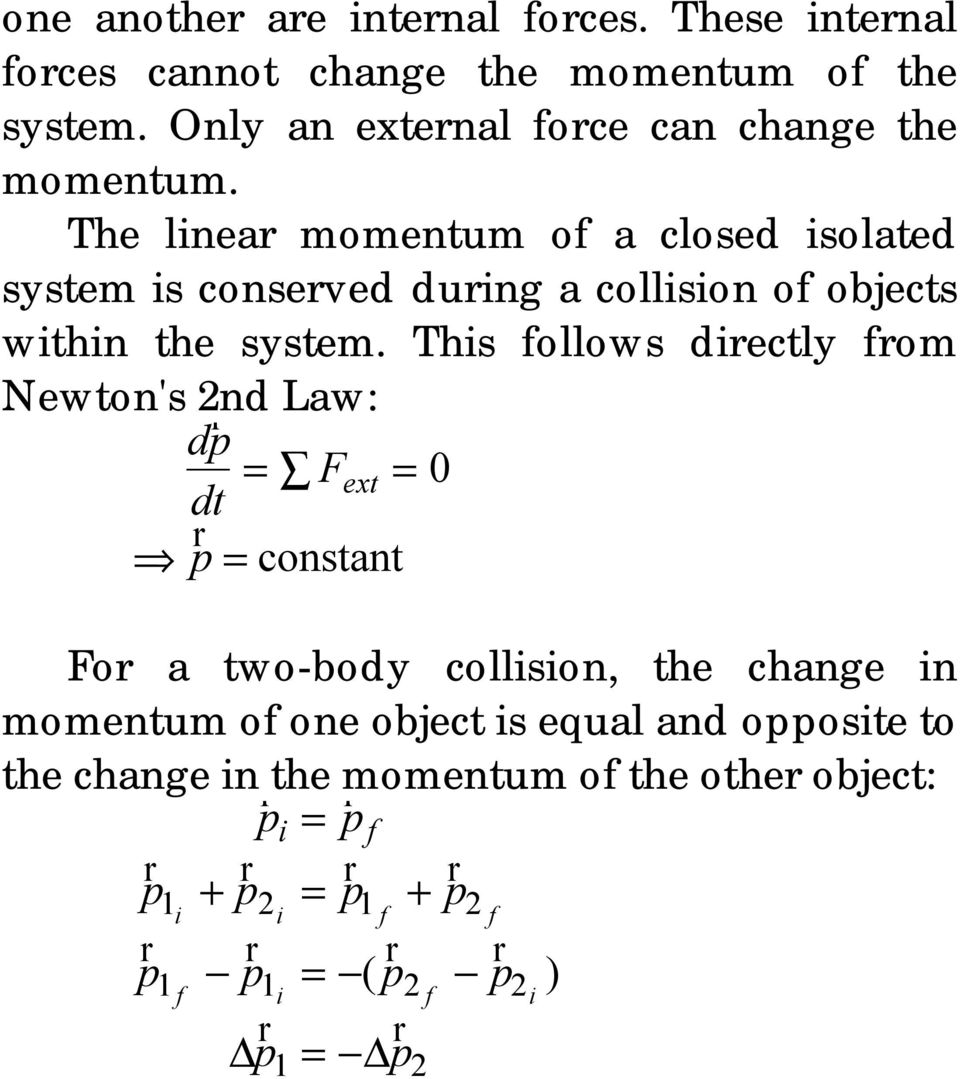 The linea momentum of a closed isolated system is conseed duing a collision of objects within the system.