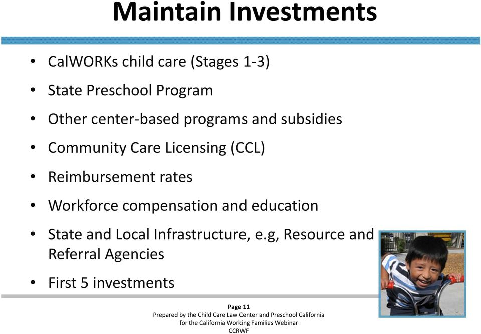 (CCL) Reimbursement rates Workforce compensation and education StateandLocal