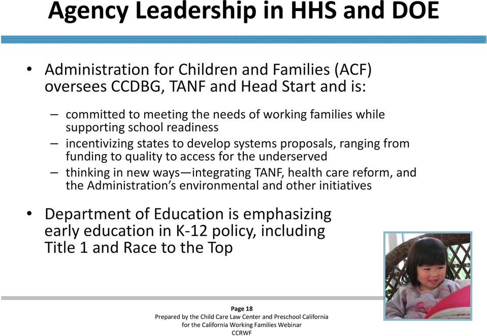 to quality to access for the underserved thinking in new ways integrating TANF, health care reform, and theadministration s s