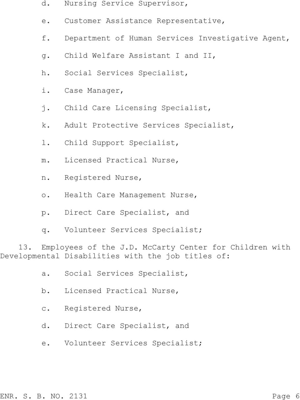 Registered Nurse, o. Health Care Management Nurse, p. Direct Care Specialist, and q. Volunteer Services Specialist; 13. Employees of the J.D. McCarty Center for Children with Developmental Disabilities with the job titles of: a.