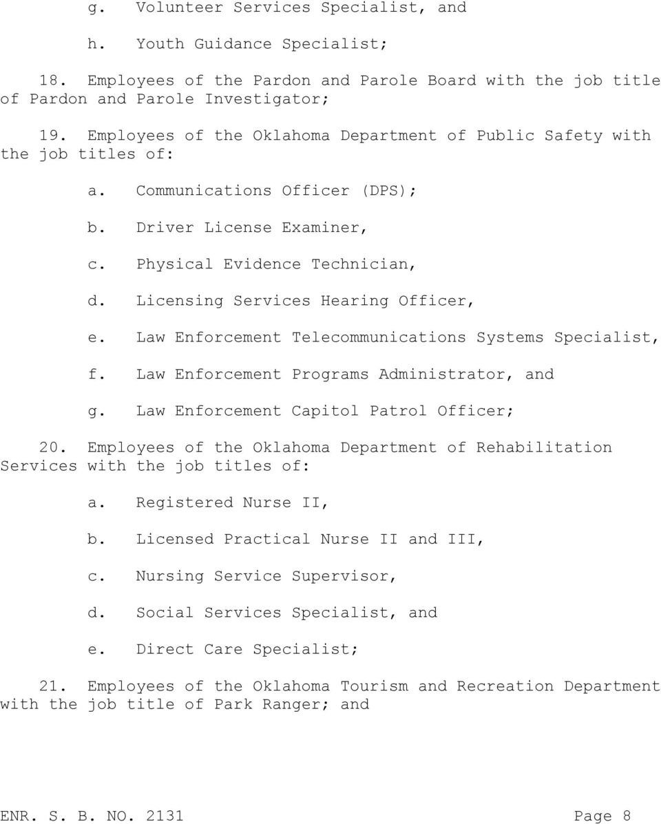 Licensing Services Hearing Officer, e. Law Enforcement Telecommunications Systems Specialist, f. Law Enforcement Programs Administrator, and g. Law Enforcement Capitol Patrol Officer; 20.