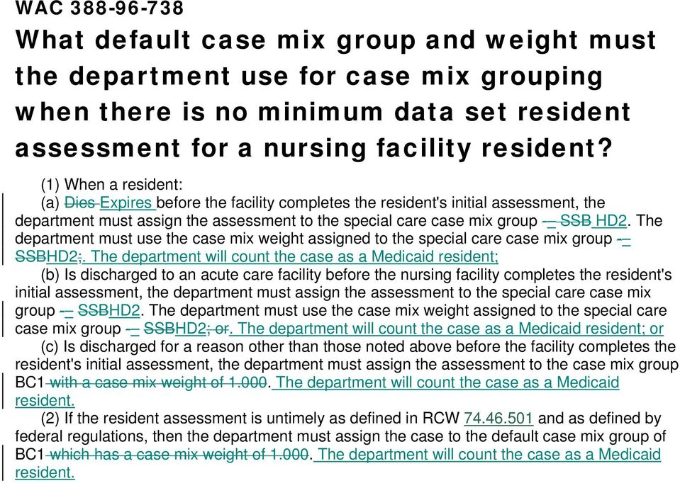 The department must use the case mix weight assigned to the special care case mix group - SSBHD2;.