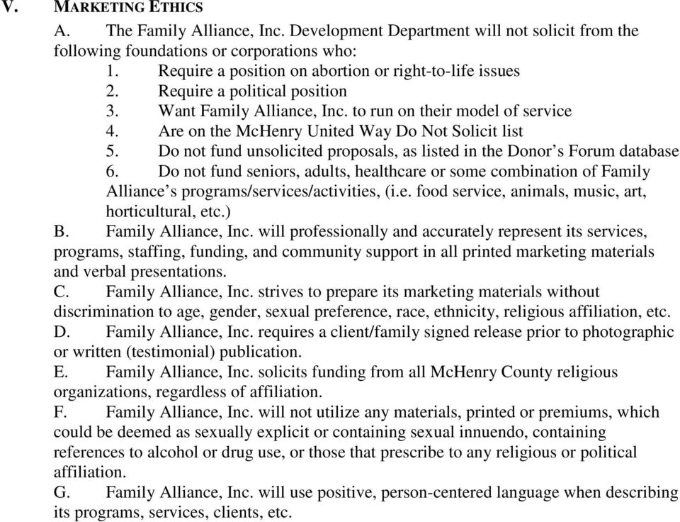 Are on the McHenry United Way Do Not Solicit list 5. Do not fund unsolicited proposals, as listed in the Donor s Forum database 6.