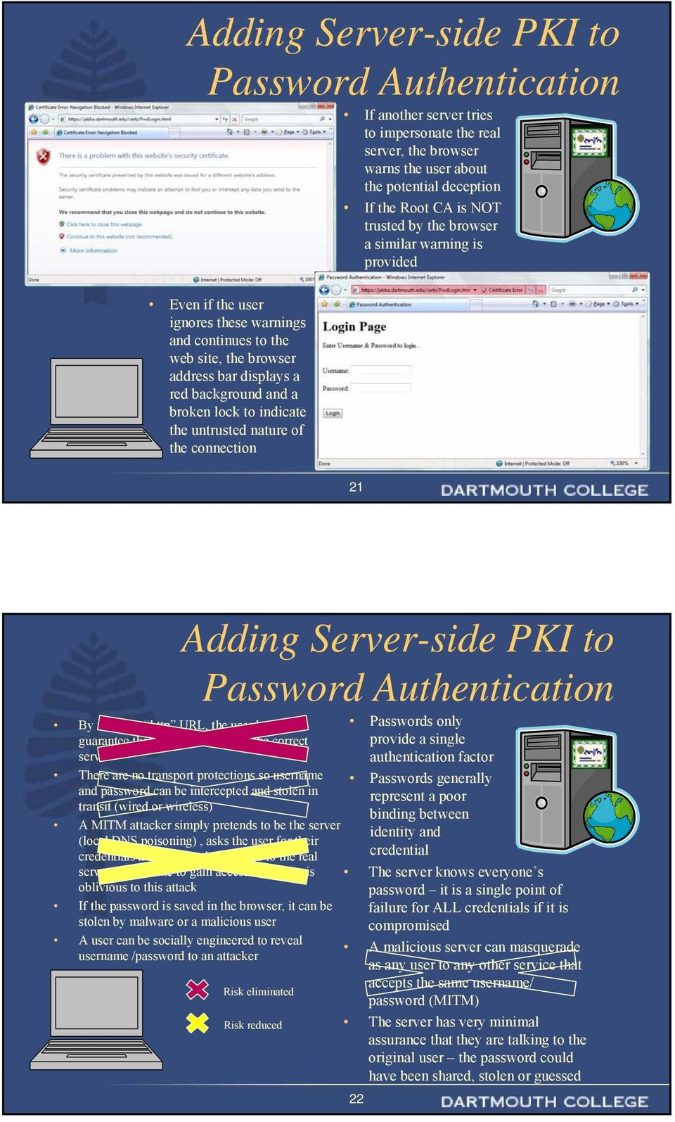 untrusted nature of the connection 21 Adding Server-side PKI to Password Authentication By using an http URL, the user has no guarantee that they are talking to the correct server There are no