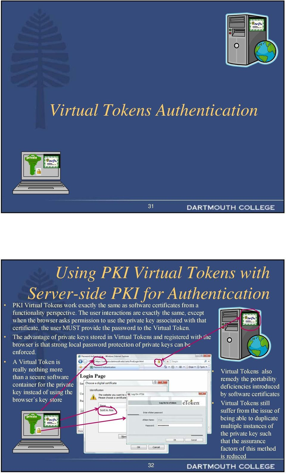 The advantage of keys stored in Virtual Tokens and registered with the browser is that strong local password protection of keys can be enforced.