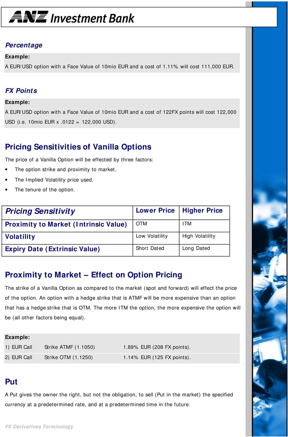 Pricing Sensitivities of Vanilla Options The price of a Vanilla Option will be effected by three factors: The option strike and proximity to market. The Implied Volatility price used.