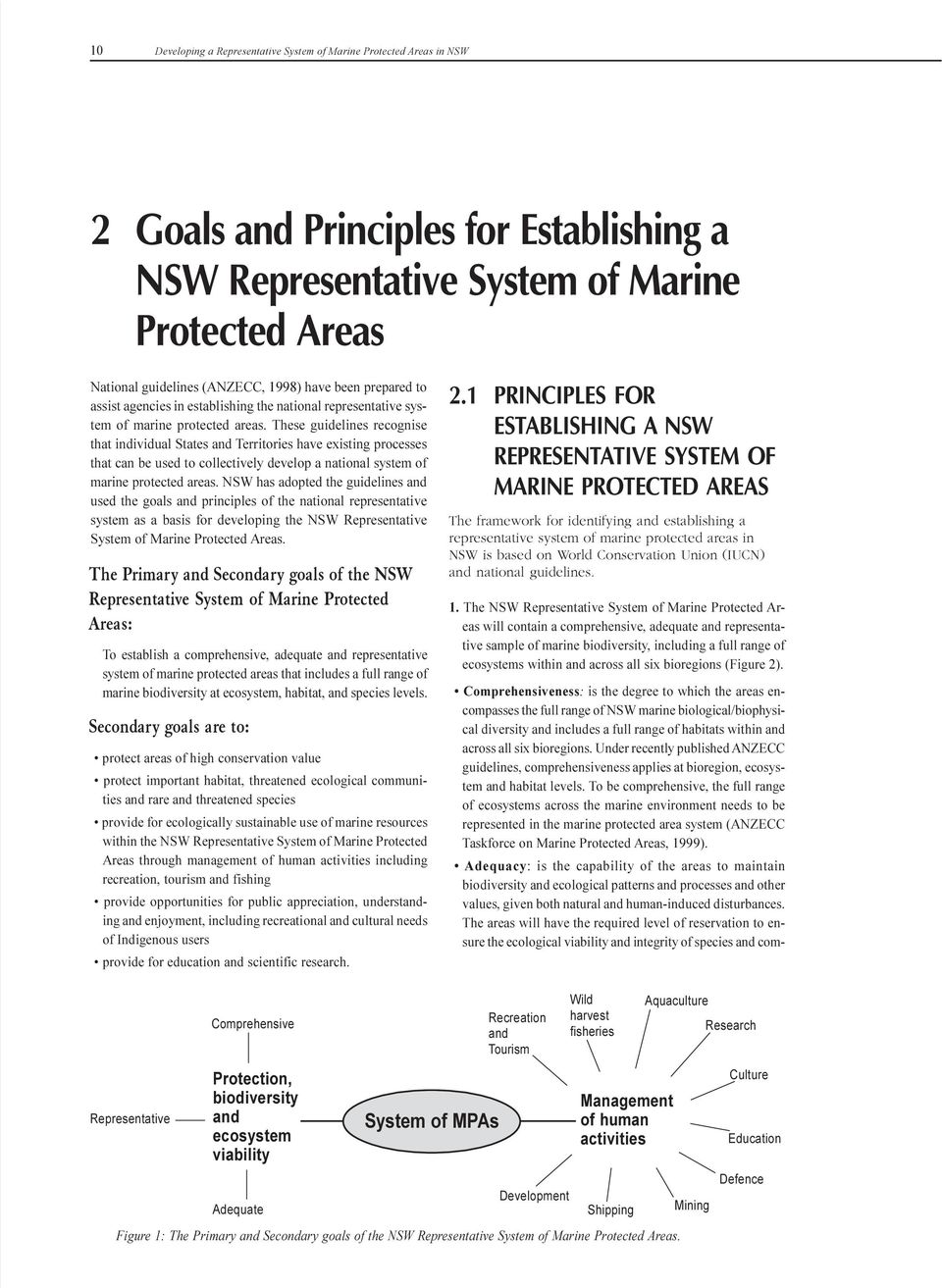 processes that can be used to collectively develop a national system of marine protected areas NSW has adopted the guidelines and used the goals and principles of the national representative system