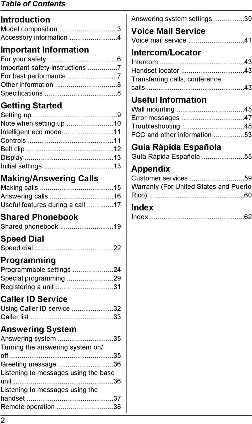 ..13 Making/Answering Calls Making calls...15 Answering calls...16 Useful features during a call...17 Shared Phonebook Shared phonebook...19 Speed Dial Speed dial...22 Programming Programmable settings.