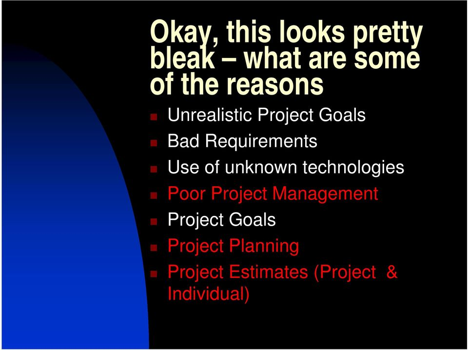 of unknown technologies Poor Project Management Project