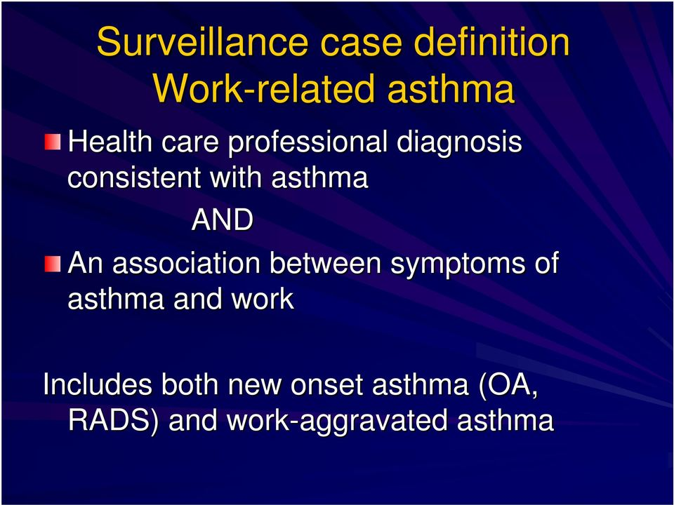 AND An association between symptoms of asthma and work