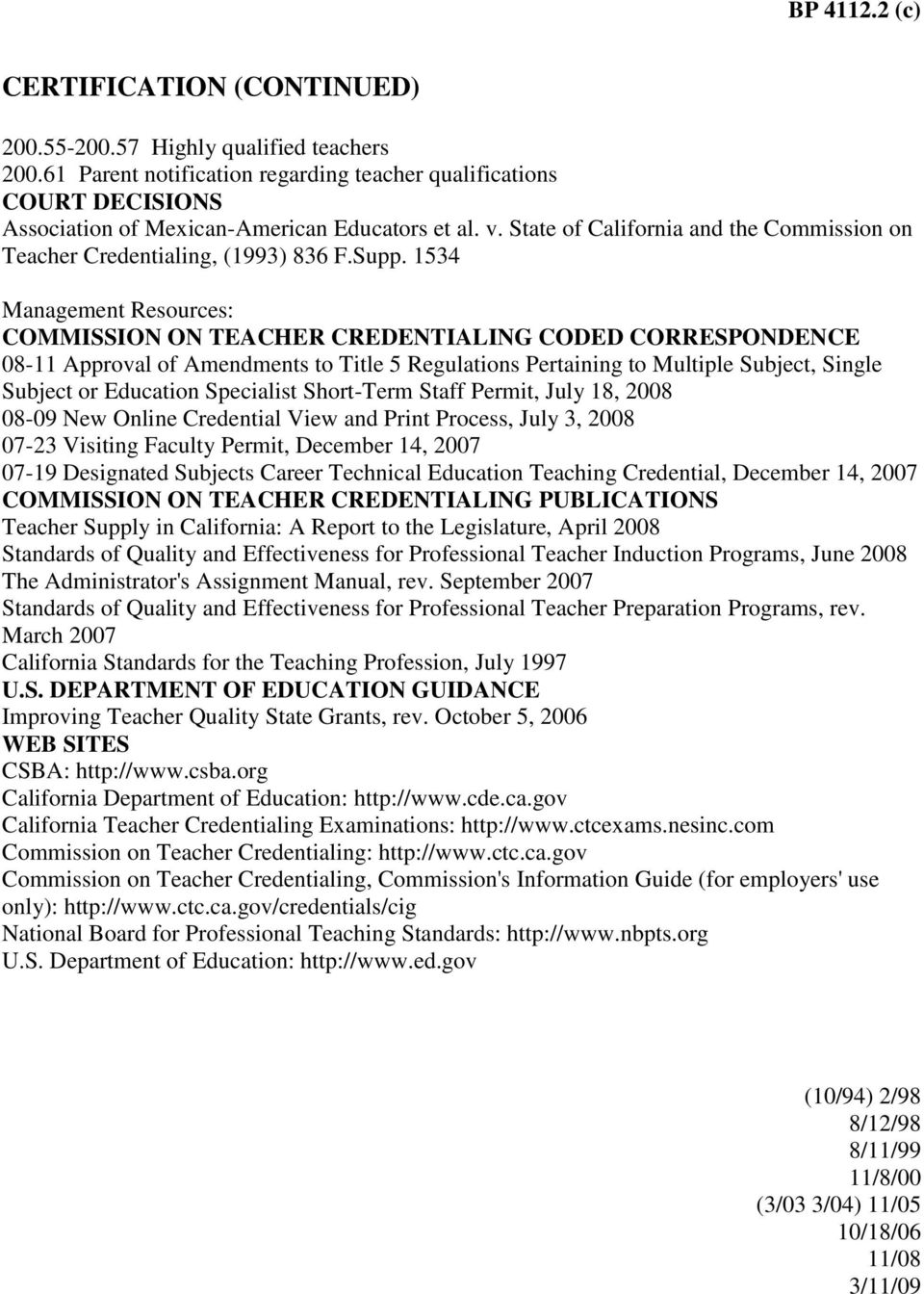 State of California and the Commission on Teacher Credentialing, (1993) 836 F.Supp.