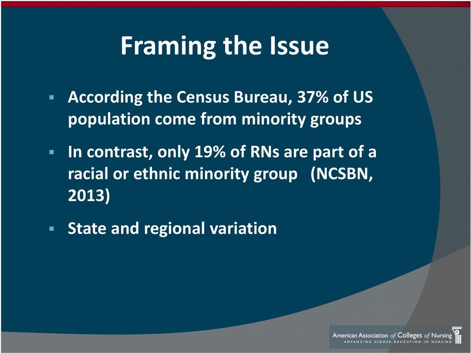 contrast, only 19% of RNs are part of a racial or
