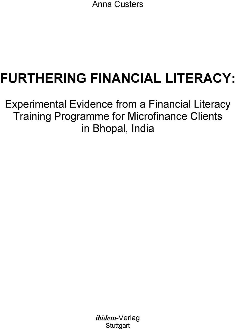 Literacy Training Programme for