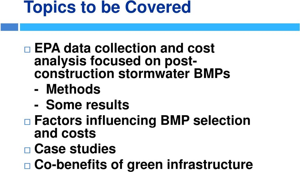 Methods - Some results Factors influencing BMP