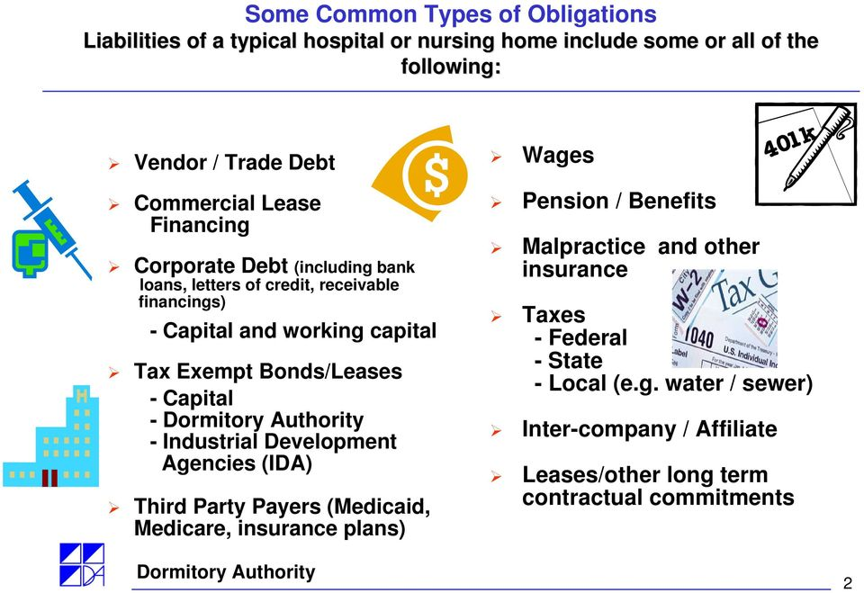 Bonds/Leases - Capital - - Industrial Development Agencies (IDA) Third Party Payers (Medicaid, Medicare, insurance plans) Wages Pension / Benefits