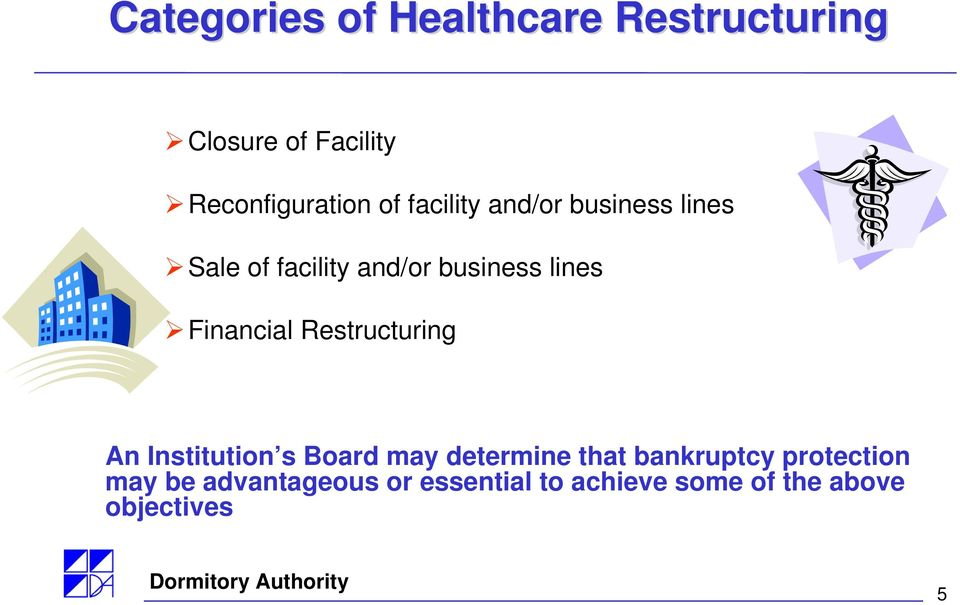 Financial Restructuring An Institution s Board may determine that bankruptcy
