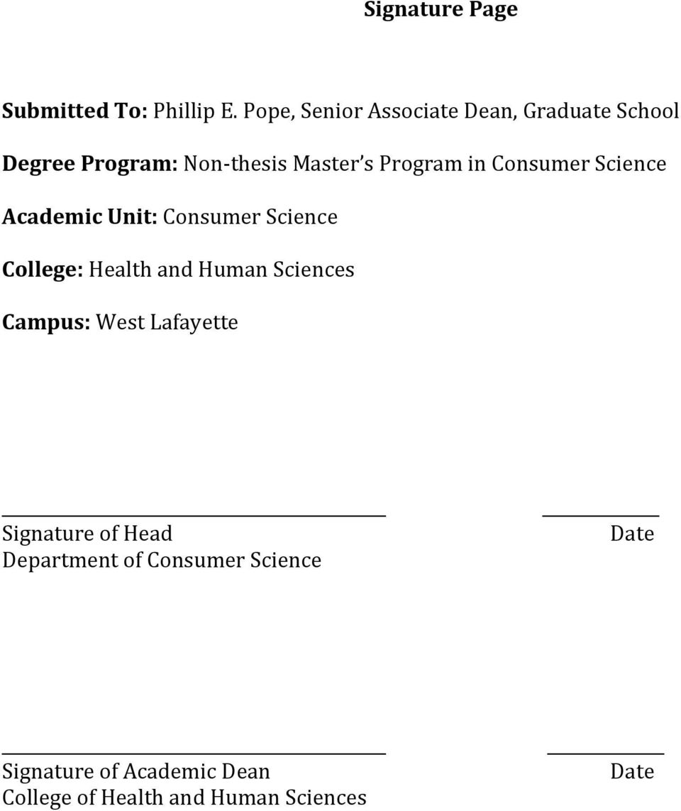 in Consumer Science Academic Unit: Consumer Science College: Health and Human Sciences