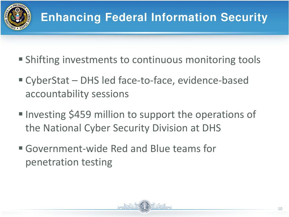sessions Investing $459 million to support the operations of the National Cyber