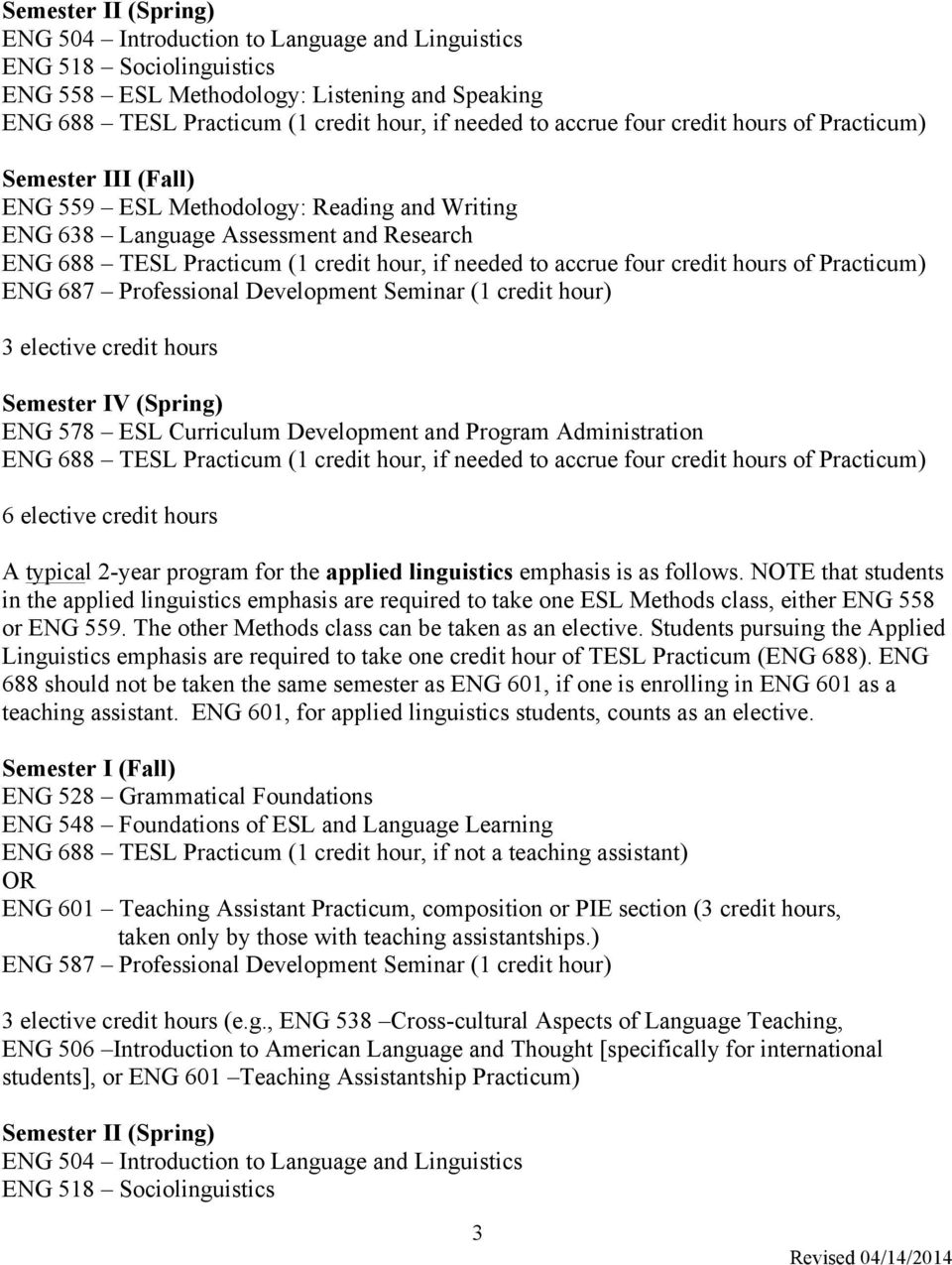 accrue four credit hours of Practicum) ENG 687 Professional Development Seminar (1 credit hour) 3 elective credit hours Semester IV (Spring) ENG 578 ESL Curriculum Development and Program