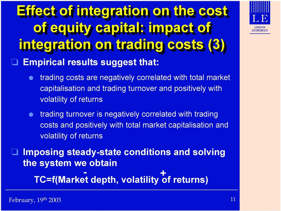 returns trading turnover is negatively correlated with trading costs and positively with total market capitalisation and
