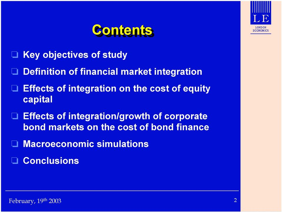 equity capital Effects of integration/growth of corporate bond