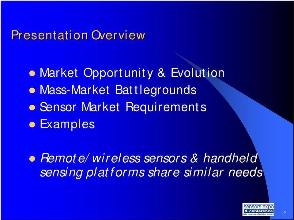 Market Requirements Examples Remote/wireless