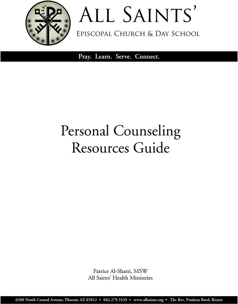 Personal Counseling Resources Guide Patrice Al-Shatti, MSW All