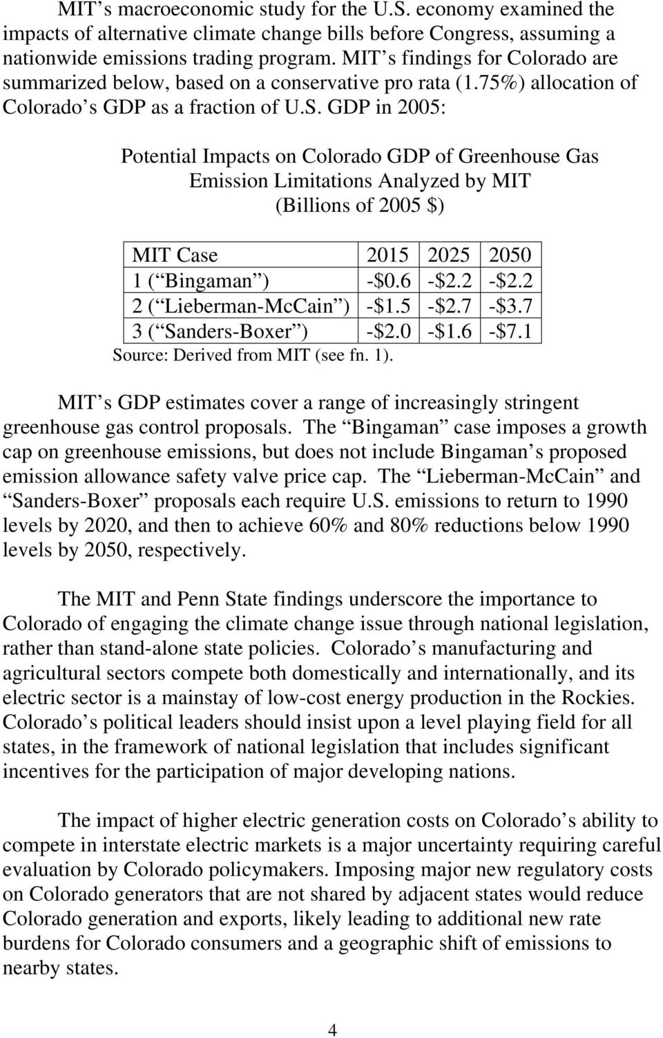 GDP in 2005: Potential Impacts on Colorado GDP of Greenhouse Gas Emission Limitations Analyzed by MIT (Billions of 2005 $) MIT Case 2015 2025 2050 1 ( Bingaman ) -$0.6 -$2.2 -$2.