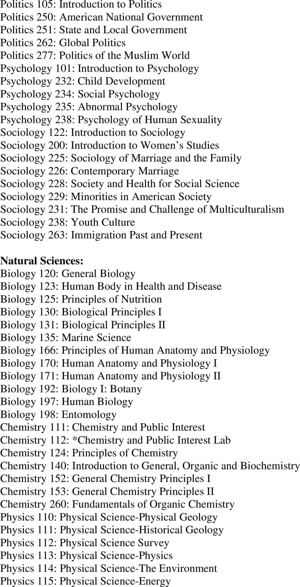 Sociology 122: Introduction to Sociology Sociology 200: Introduction to Women s Studies Sociology 225: Sociology of Marriage and the Family Sociology 226: Contemporary Marriage Sociology 228: Society