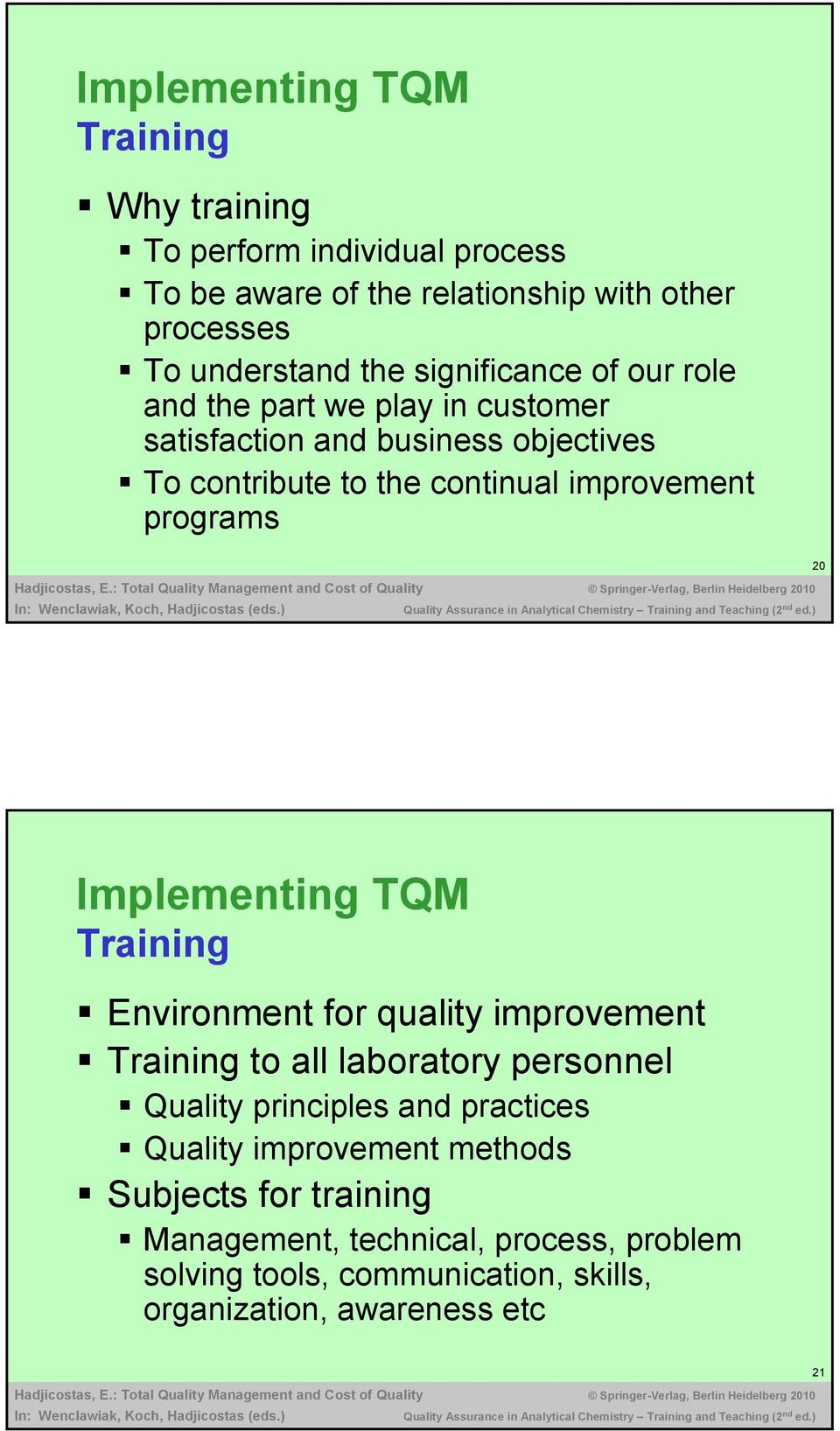 programs 20 Implementing TQM Training Environment for quality improvement Training to all laboratory personnel Quality principles and practices