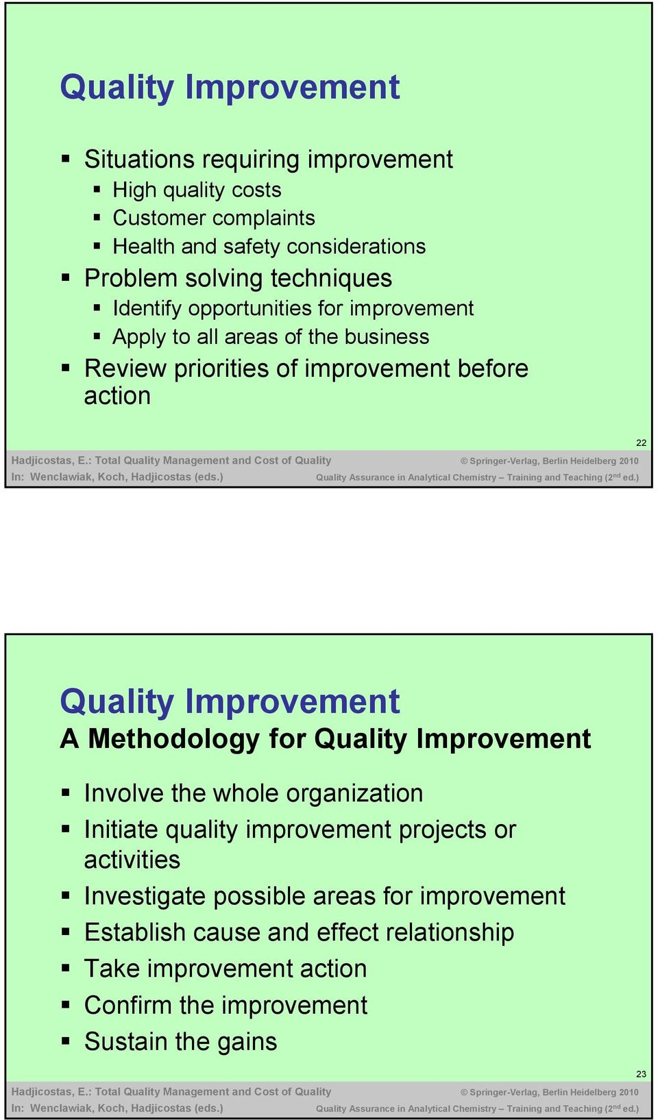 Quality Improvement A Methodology for Quality Improvement Involve the whole organization Initiate quality improvement projects or activities