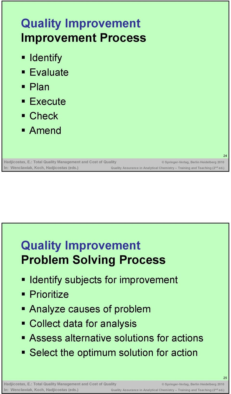 improvement Prioritize Analyze causes of problem Collect data for analysis