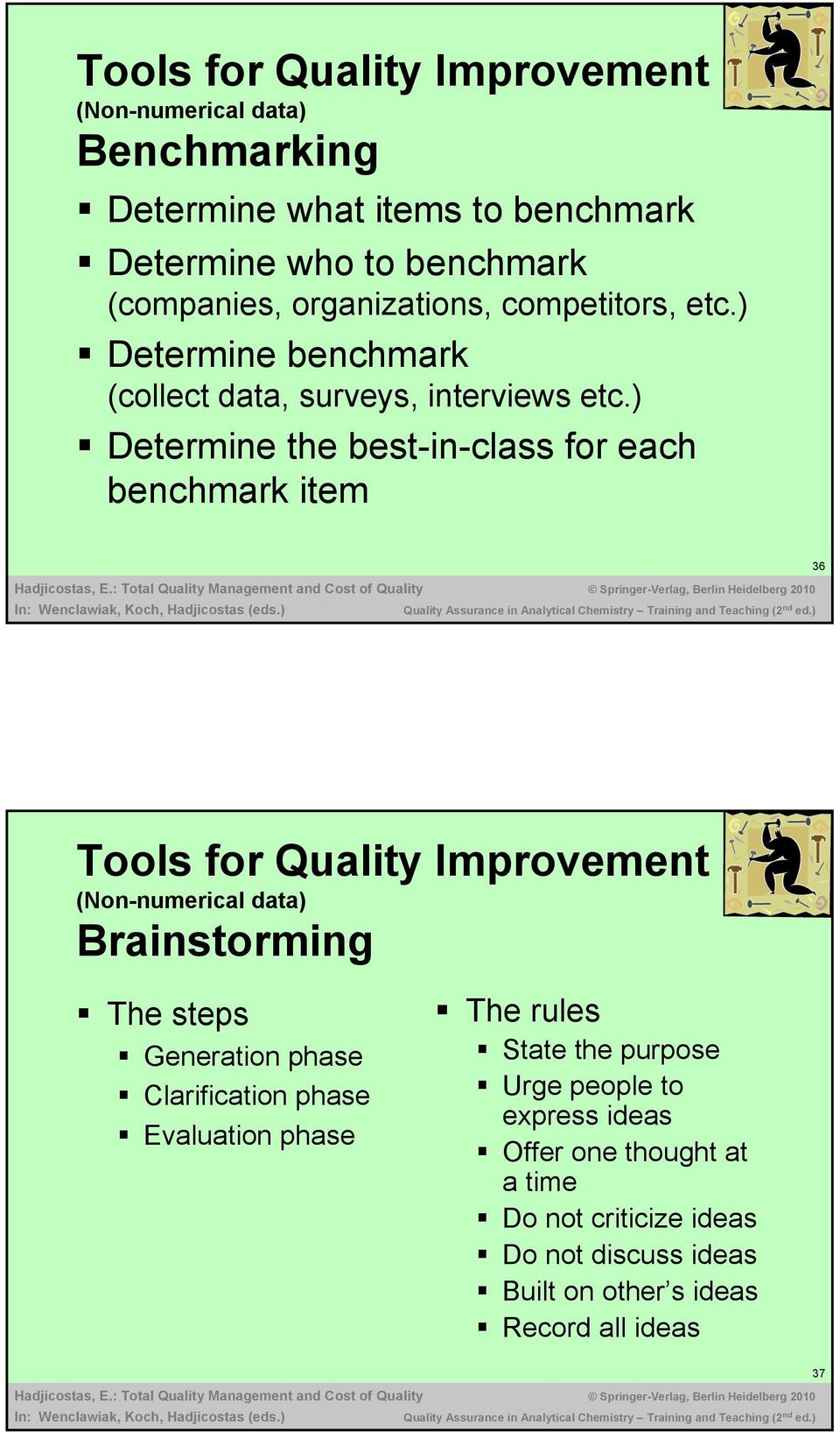 ) Determine the best-in-class for each benchmark item 36 Tools for Quality Improvement (Non-numerical data) Brainstorming The steps Generation
