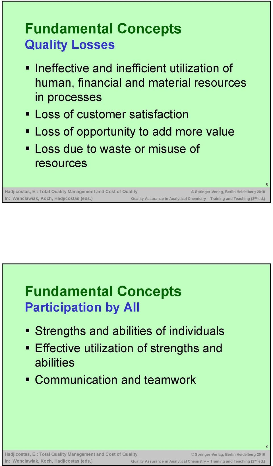 Loss due to waste or misuse of resources 8 Fundamental Concepts Participation by All Strengths and